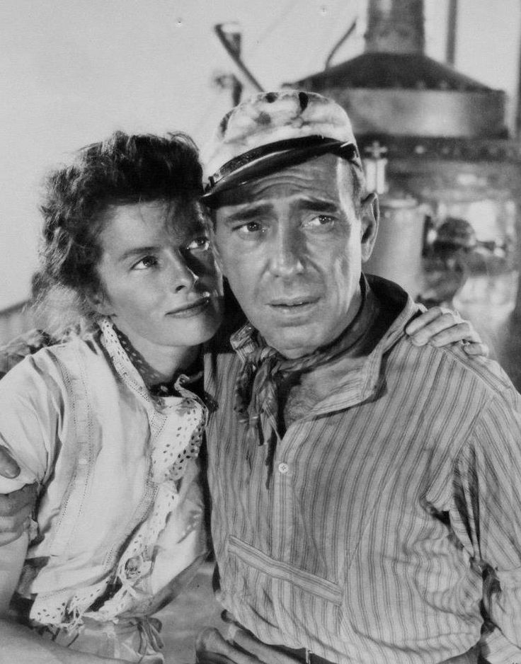 "Humphrey Bogart and Katherine Hepburn in ""The African Queen"" (1952)"