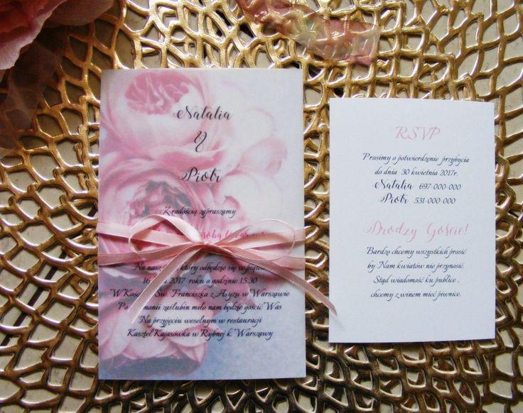 Zaproszenia ślubne kwiatowe, peonie, anemony nowość 2017