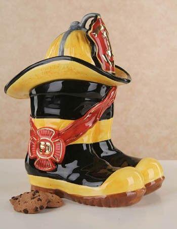 *FIREMAN's BOOTS & HAT ~ Cookie Jar