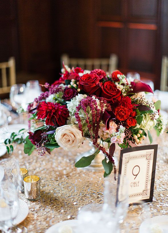 934 best the henry fords wedding inspiration images on pinterest soft gold table linen with rich red floral wedding centerpiece junglespirit Gallery