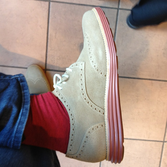 Latest purchase. These cole haan kicks and some funky socks!
