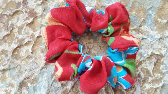 Handmade,red,blue,apricot/light/brown green and white floral ,chiffon/georgette small to medium size scrunchie /hair tie/pony tie/bun holder