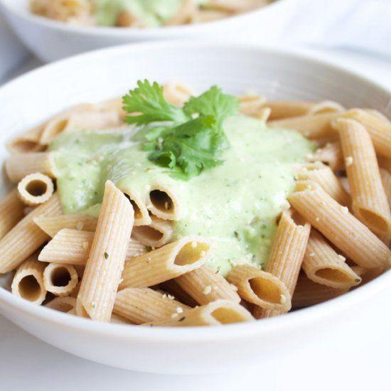 Creamy cilantro and avocado penne {Vegan + Gluten Free}