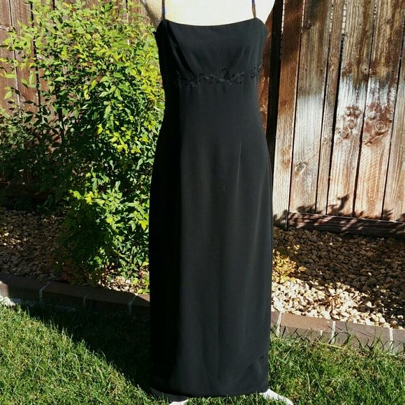 """SALE Anne Taylor Long Black Formal Dress Elegant Long Black Anne Taylor Dress. Gorgeous straps on back and detail on front. 47"""" from top of dress to bottom. Perfect for upcoming Holiday Party Ann Taylor Dresses"""