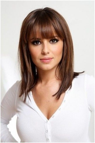 Shoulder length layered hairstyles. I've tried bangs so many times and I never like it, but it looks so dang cute!
