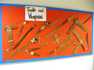 Chapter 1 Activity: tools and weapons with cardboard and string.