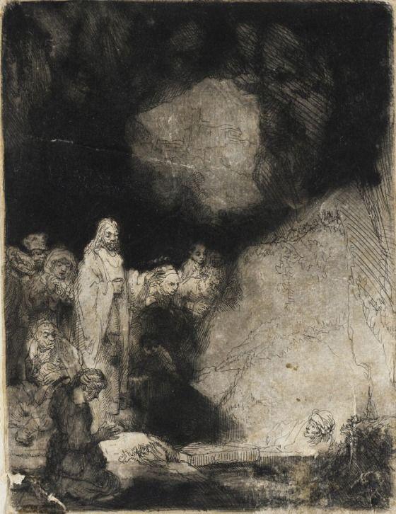 The Raising of Lazarus | Rembrandt van Rijn | etching  http://www.pinterest.com/volfi/rembrandt-van-rijn/