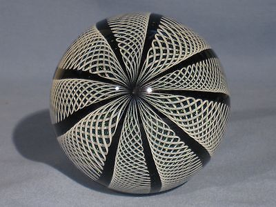 Paperweights Contemporary Art Glass Alloway 3.3inch Dichroic Latticino Cane #679