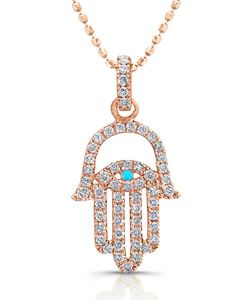 Mystic Light Turquoise and Rose Gold Hamsa Necklace #maxandchloe