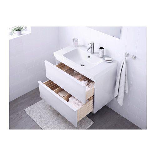 GODMORGON / ODENSVIK Meuble lavabo 2tir - brillant blanc - IKEA