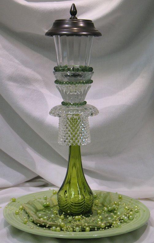 Sculptured Glass Art with solar light - handcrafted www.FACEBOOK.com/KBTSC