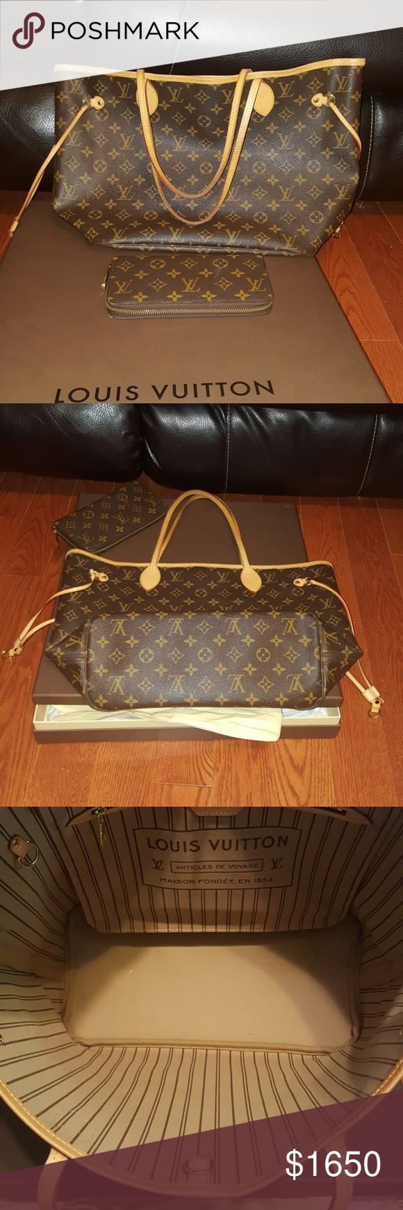Authantic Louis Vuitton Neverfull MM/Zippy In excellent condition NF MM and ZIPPY WALLET  -12.6x 11.4x 6.7 inches (Lengthx Heightx Width) - Redesigned interior with Louis Vuitton archive details - Textile-lined inside pocket - Natural cowhide leather trim - Golden color metallic pieces (no wristlet in use)  Zippy Monogram wallet  Retail price 805 NF MM 1260 plus tax  *PRICE FIRM* POSH AUTHANTICATE Louis Vuitton Bags Totes