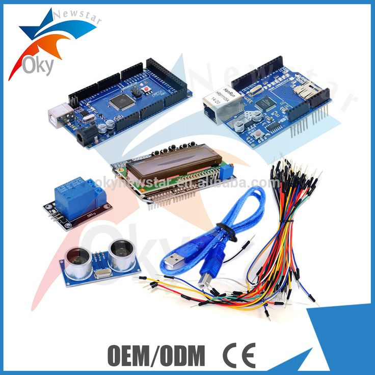 Mega 2560 R3 + ultrasonic + relay + bread line + W5100 + 1602 lcd Shield + usb cable for Arduino