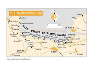 Maps of Normandy (Normandie) : Map of D-Day Beaches