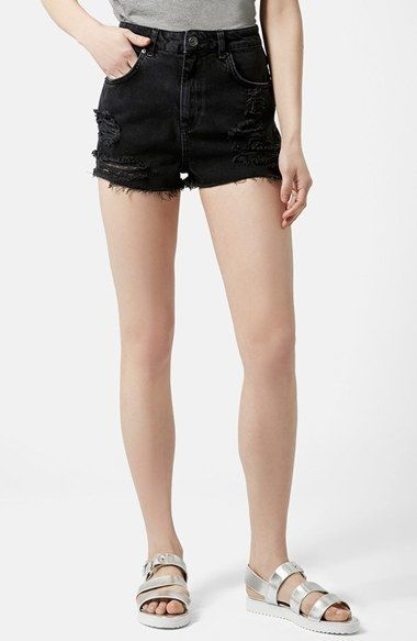 $58, Topshop Moto Ripped Shorts. Sold by Nordstrom. Click for more info: https://lookastic.com/women/shop_items/287931/redirect