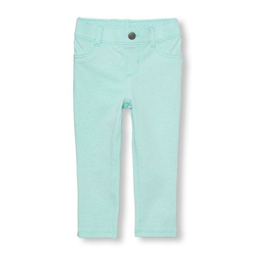 Baby Girls Toddler Solid Glitter Knit Jeggings - Green - The Children's  Place