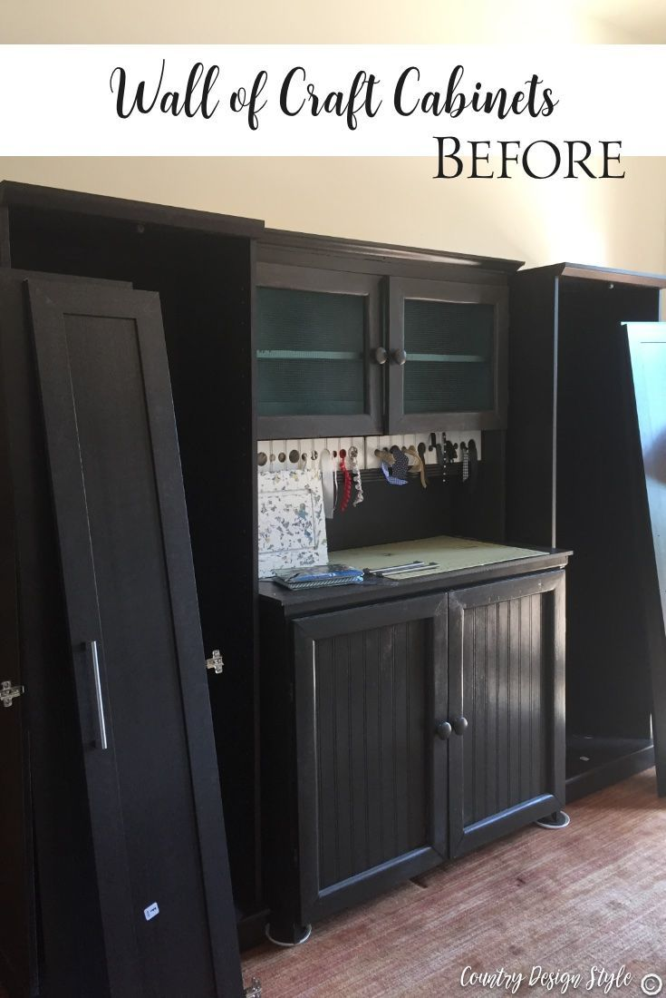 How to create an easy wall of craft cabinets and finally get organized. Below ar...