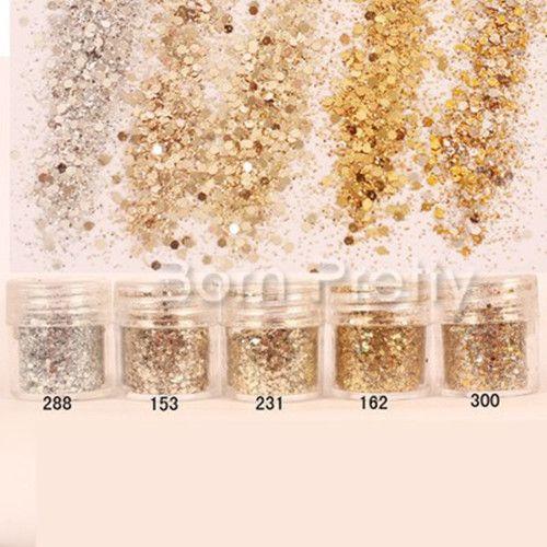 1 Box 10ml Mixed Nail Art Glitter Powder Champagne Gold Silver Sequins Super…