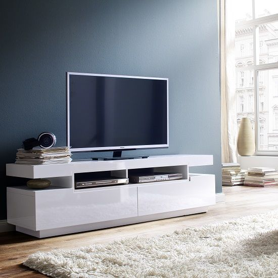 Weston LCD TV Stand In White High Gloss With 2 Drawers #tvstand