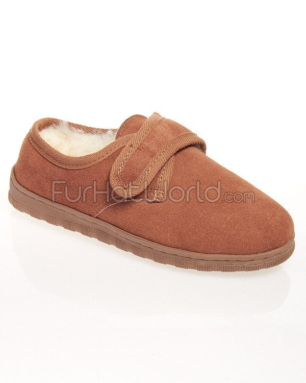 Kyle- Mens Sheepskin Slippers with Velcro Closure