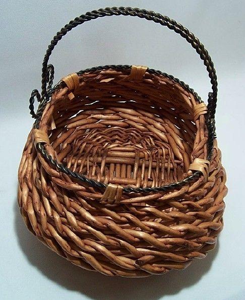 Straw Wicker Basket Decorative Accessory Pretty Metal ...