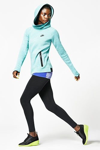 Nike Tech Fleece V2 Hoodie, $90, available at Nike; Nike International Air Print Tank Top, $30, available at Nike; Nike Leg-A-See Just Do It Tights, $45, available at Nike; Nike Lunarelite Sky Hi Shoe, $130, available at Nike.