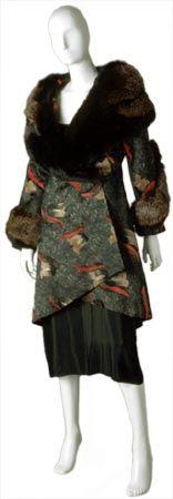 Lucien Lelong  French, 1889-1958  Coat, 1927  Silk; voided velvet,  fur collar