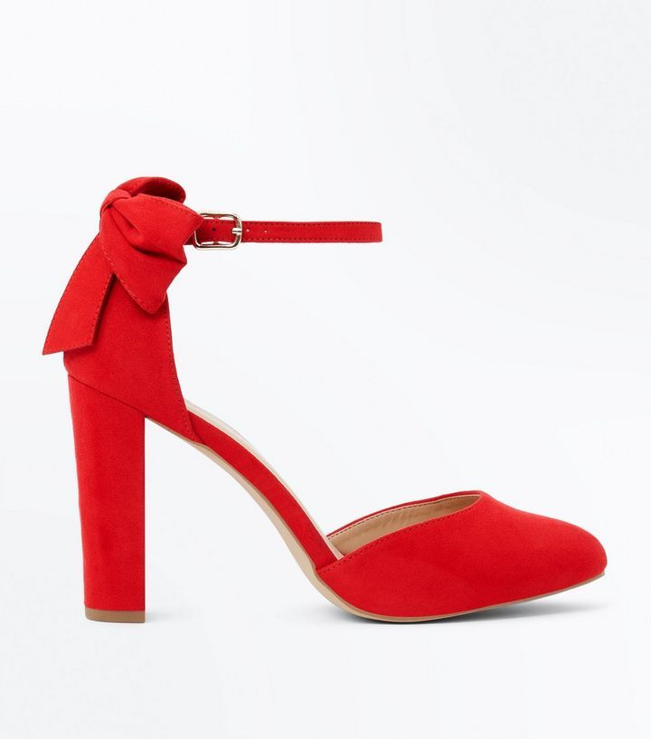 Z2018  Wide Fit Red Suedette Bow Back Heels | New Look