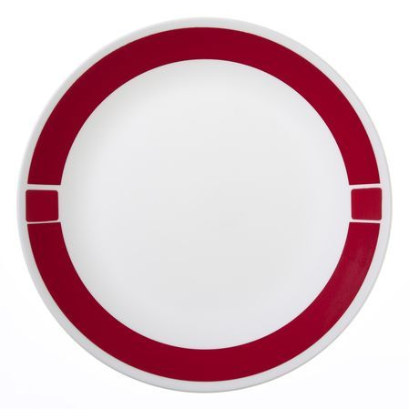 Red, white, and beautiful. You'll salute the contemporary styling of this made-in-the USA plate. A wide red band - intersected by two white lines on either side to form a square - provides a bold contrast to the white Corelle® dinnerware in this contemporary dinner plate. Plus, like all Corelle® dinnerware, it's lightweight, incredibly durable, easy to use and easy to clean.