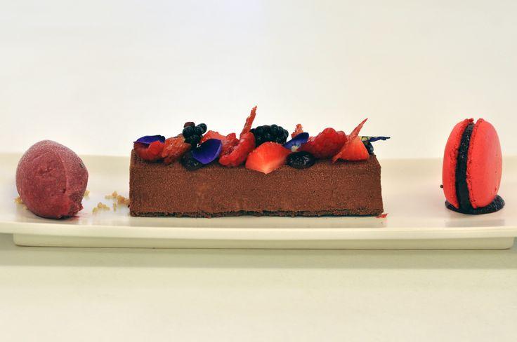 Grand Cru Valrhona Illanka chocolate bar, fresh berries, cherry macaroon and sorbet