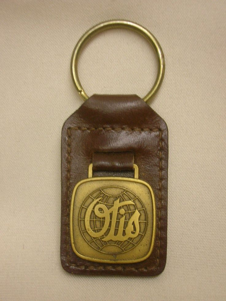 Vintage Key Chain Otis Elevator Company Brass Charm on Leather Advertising