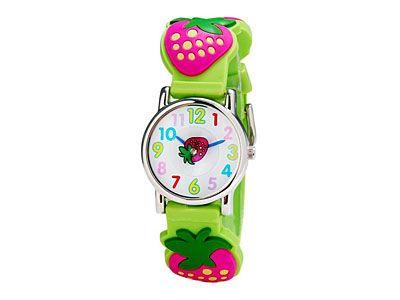 Relógio infantil de morango analógico verde