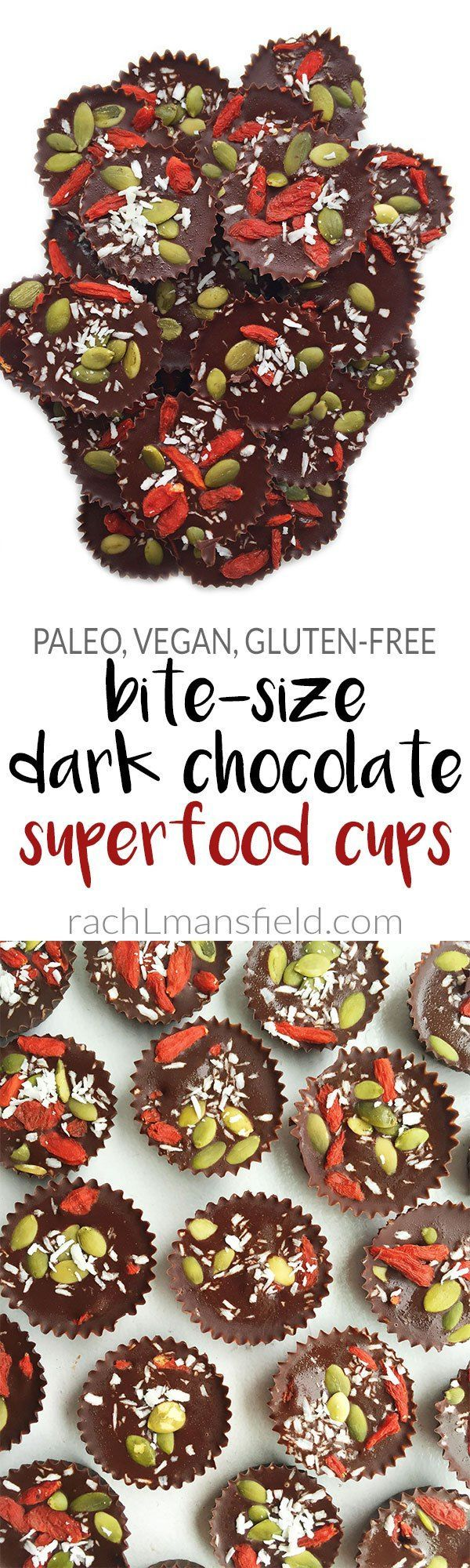 Easy Bite-Sized Vegan Dark Chocolate Superfood Cups packed with essential superfoods like goji berries, coconut flakes & pumpkin seeds