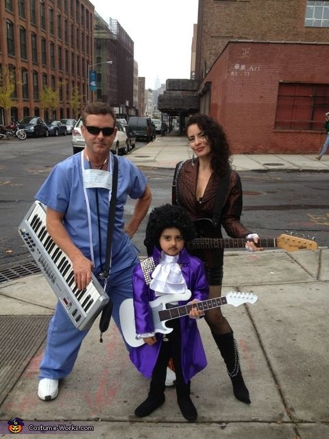 Dawn: My son, Leo, is Prince from Purple Rain. My husband dressed as Doc (keyboardist) & I'm Wendy (guitarist) from The Revolution. I was a huge Prince fan back in the...