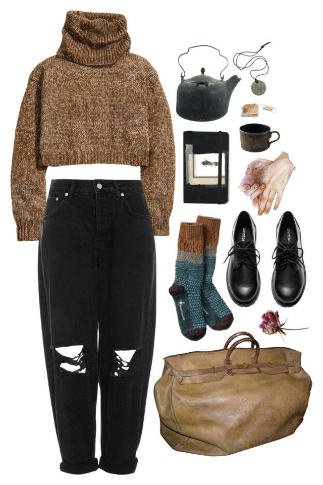 """worn"" by paper-freckles ❤ liked on Polyvore featuring H&M, Boutique, Moleskine, Hermès and Jaune de Chrome"