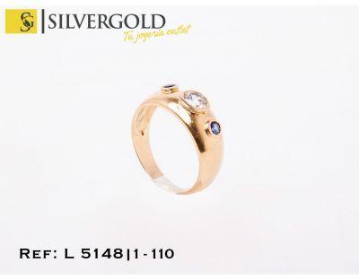 1-1-110-1-AnilloT15 estilo tresillo con piedra blanca central y azules a los lados L5148