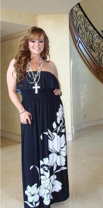 Jenni Rivera in a black & white dress