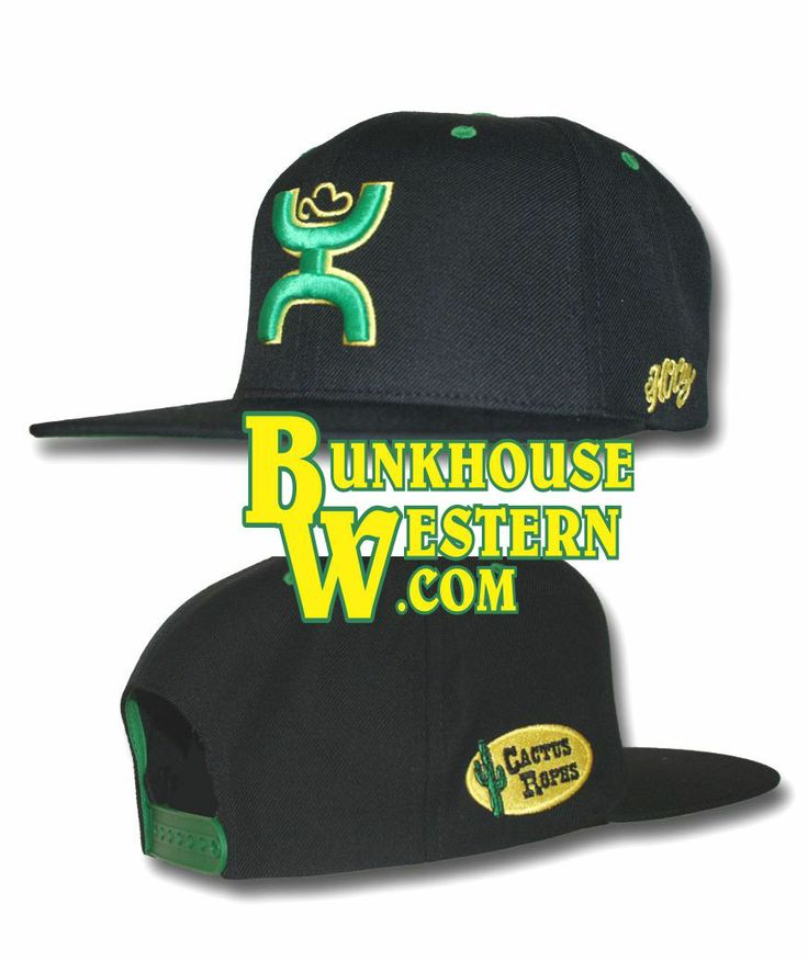 Cactus Ropes, Cactus Saddlery, HOOey Hats, Green and Yellow, Black Flatbill, Snapback, $29.98, http://www.bunkhousewestern.com/CR001_p/cr001.htm