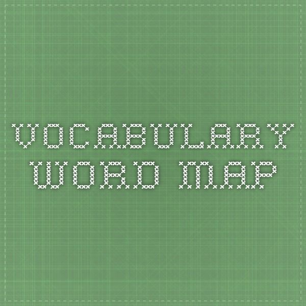 Vocabulary Word Map For Younger Children