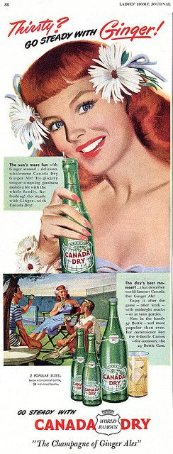 Go steady with ginger! #vintage #food #drinks #Ginger_Ale #ads #1950s