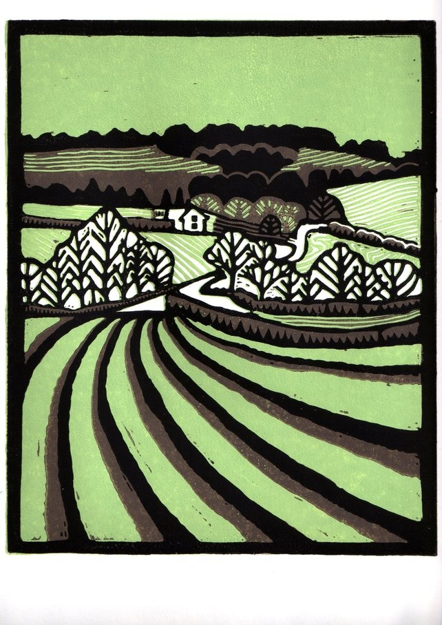 Suffolk landscape lino print green and brown  Helen Maxfield printmaking
