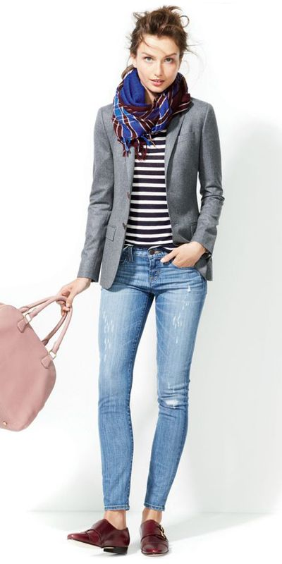Tweed jacket, jeans, pastel pink purse, scarf, simple tee. I like mixing feminine details with masculine pieces.