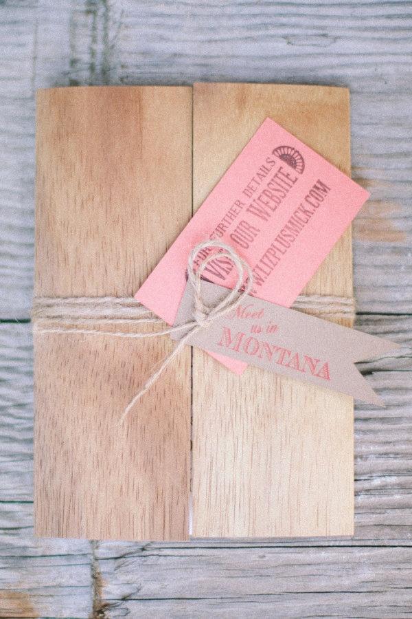 Wood & Twine Invitación de boda de madera