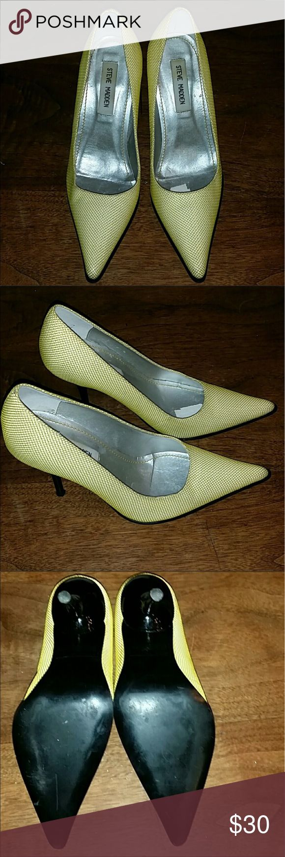 """Steve Madden High heels Yellow 4"""" heels. Worn once! Looks so cute with jeans and a top, they're just a tad too big for me Steve Madden Shoes Heels"""