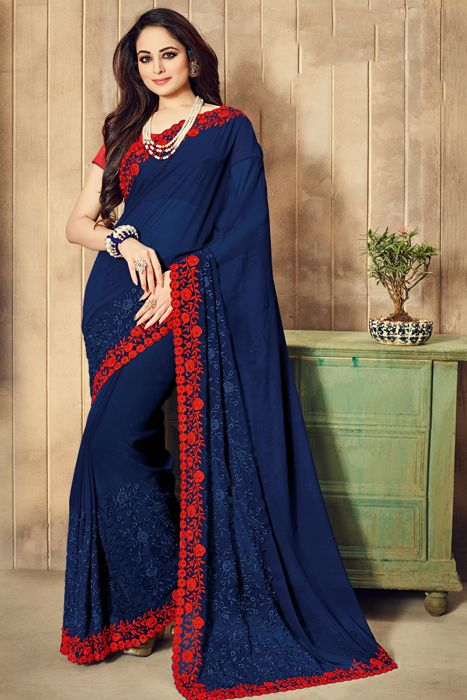 Art Silk Royal Blue Saree With Red Embroidery At Border