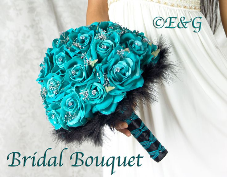 Gorgeous CHARLOTTE TURQUOISE BLACK Complete Bridal Bouquet Package silk flowers wedding feathers bridesmaid bouquets boutonniere corsage. $347.00, via Etsy.