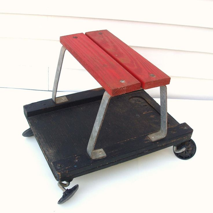 Vintage Rolling Cart Garage Stool Small Wood Table
