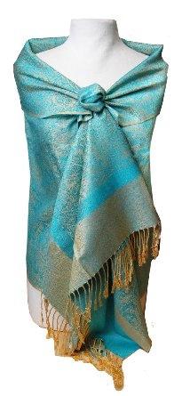 Amazon.com: Jacquard Turquoise and Gold Tone Pashmina Shawl Wrap: Clothing