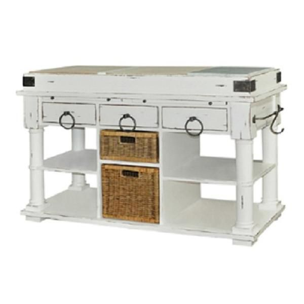 Best Butcher Block With Marble White Distressed Kitchen Island 400 x 300