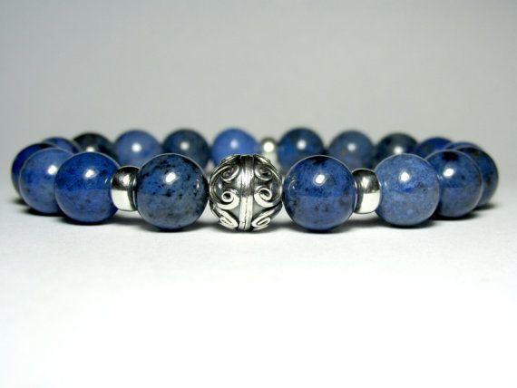 Mens Sodalite Beaded Bracelet, Mens Beaded Bracelet, Bracelet for Men, Stretch Bracelet, Jewelry for Men